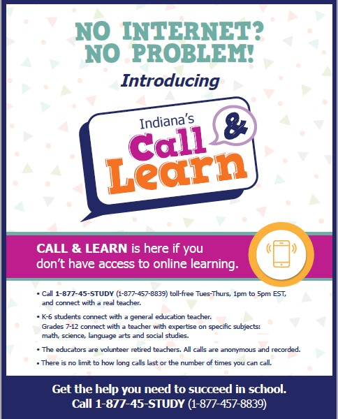 Indiana's Call & Learn Homework Help